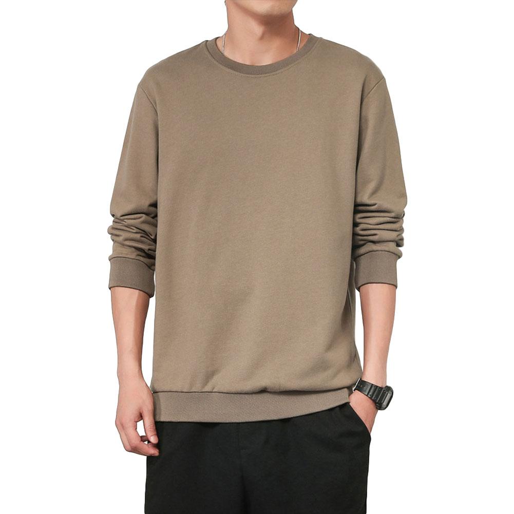 Men Spring Autumn Sweatshirts Casual Fashion Round Collar Coat light coffee_L