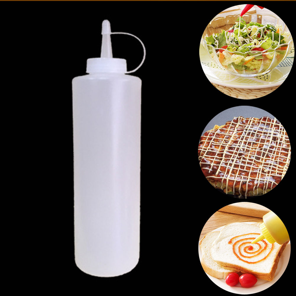 8-24oz Clear Plastic Squeeze Bottle Condiment Dispenser with Scale 12oz