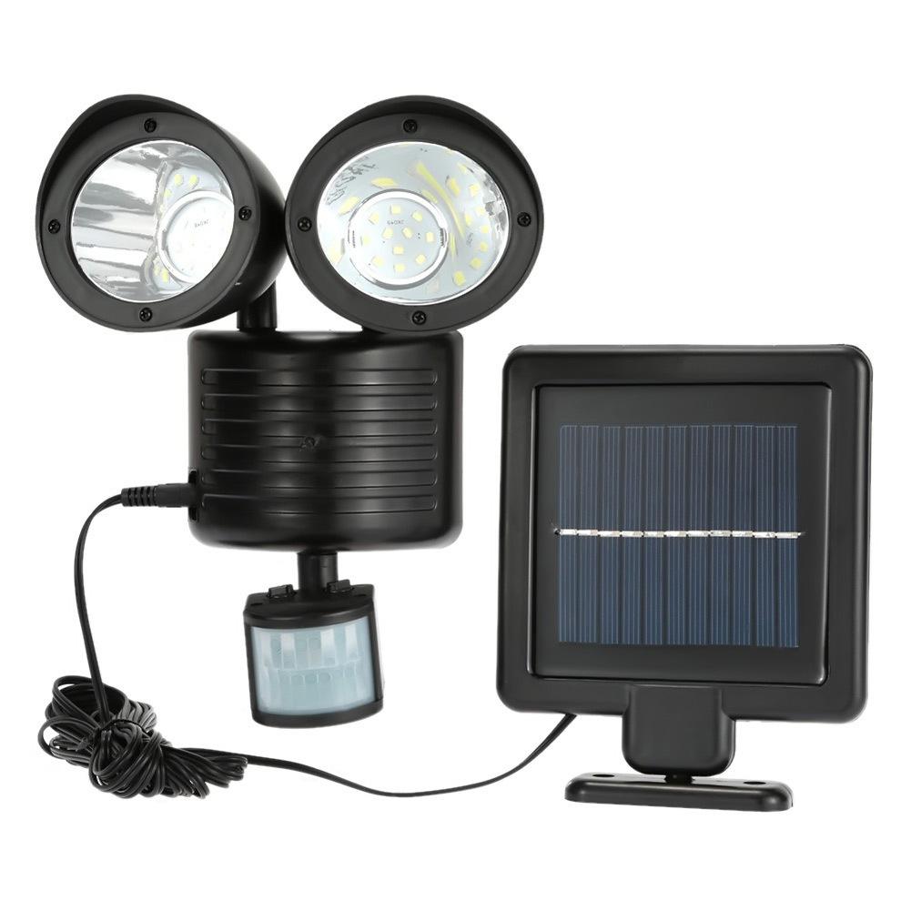 22LEDs Waterproof Dual Head Solar Human Body Induction Spotlight for Outdoor Courtyard Corridor Garden Garage black