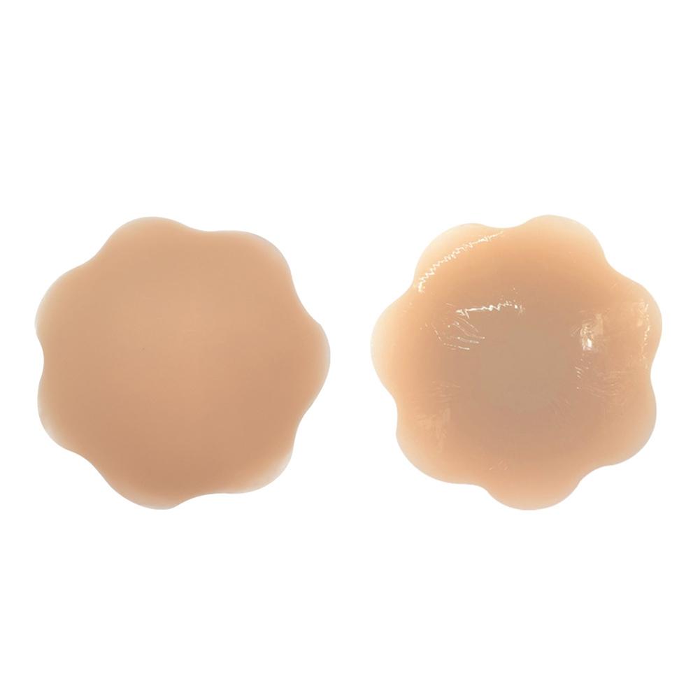 Women Silicone Nube Bra Invisible Nipple Cover Breast Areola Sticker Light coffee_Flower shape (diameter 9cm)