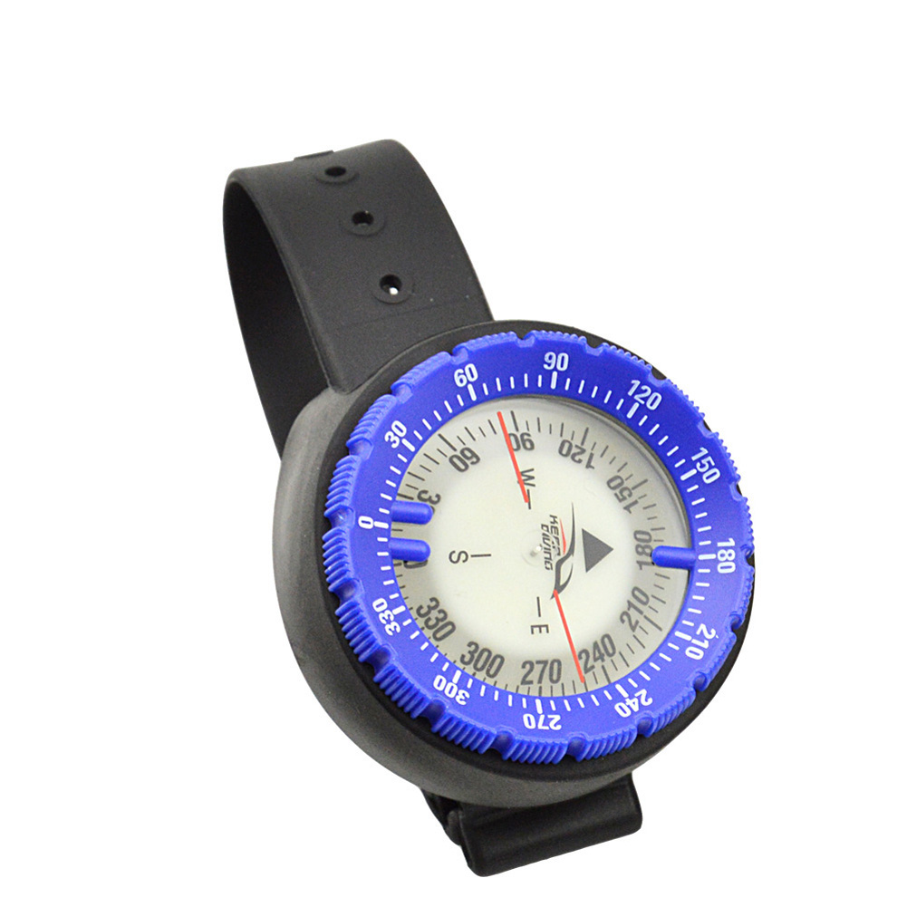 Wristwatch Design Compass Lightweight Portable Waterproof Plastic for Swimming Diving Water Sports Accessory blue
