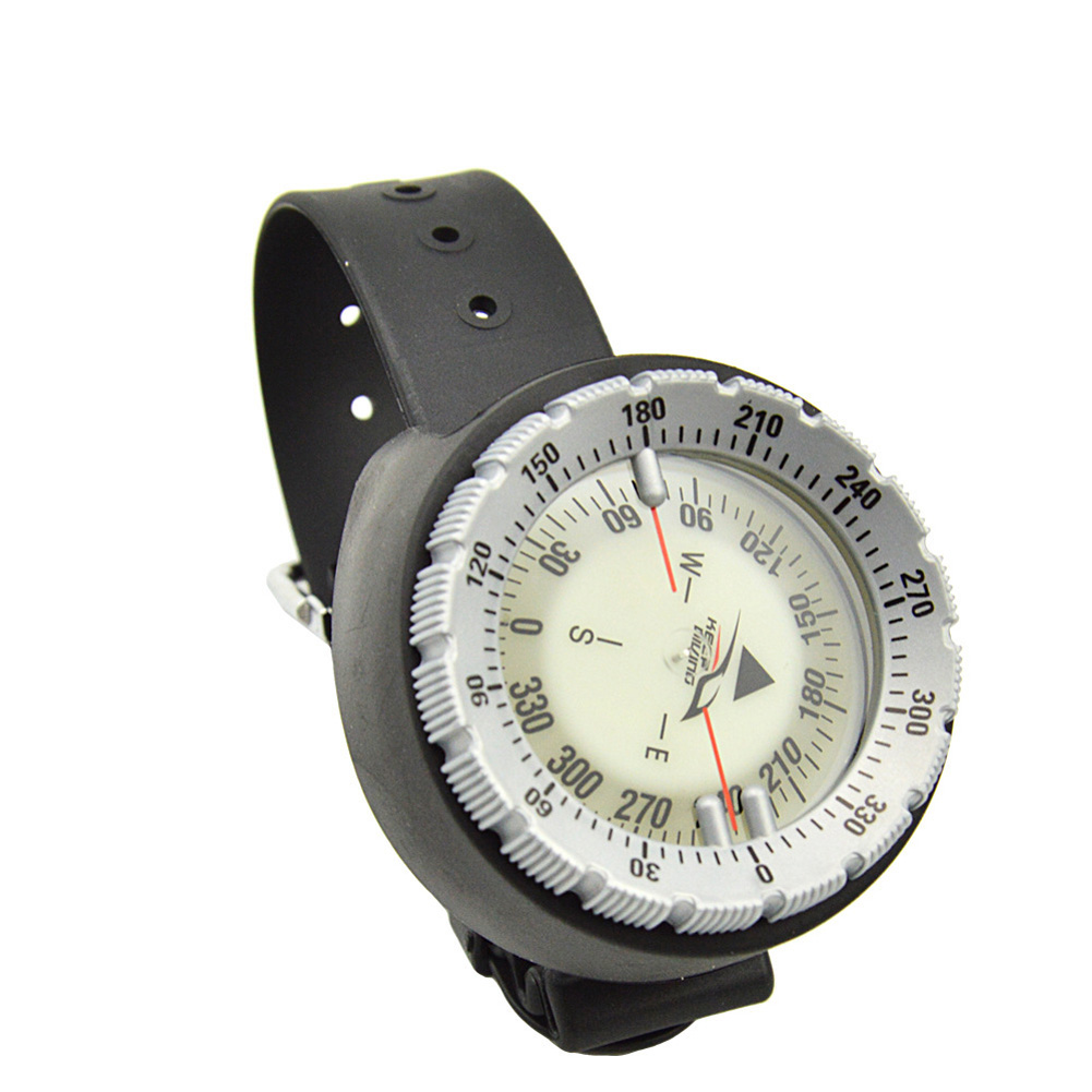 Wristwatch Design Compass Lightweight Portable Waterproof Plastic for Swimming Diving Water Sports Accessory gray