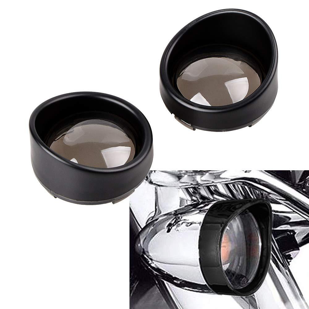 1pair Chrome Visor-Style Turn Signal Light Bezels 4 colors Lens for Harley Davidson black