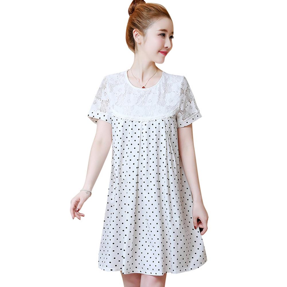 Women Summer Maternity Dresses Short Sleeve Loose Dot Printing Pregnancy Clothing Black dot_L