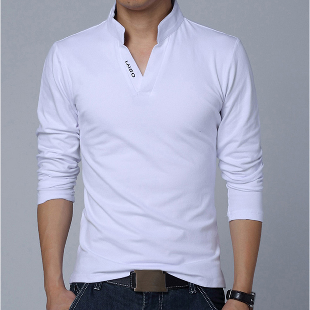Men Solid Color V Neck Long Sleeve Leisure T-shirt white_L