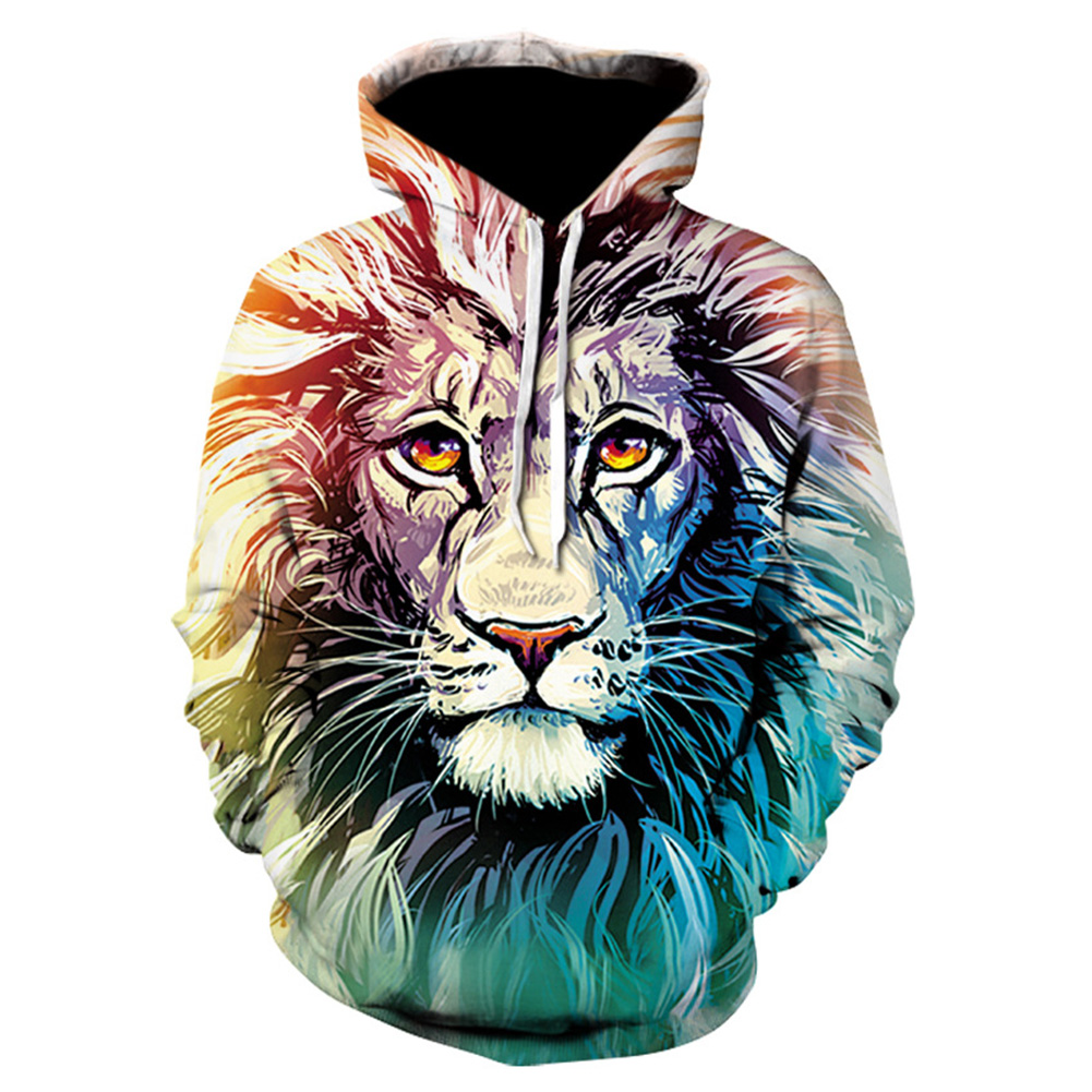 Halloween Christmas Men/Women 3D Print Lion Hoodie Cool Fashionable Hooded Pullover Sweatshirts Tops WE197_XXXL