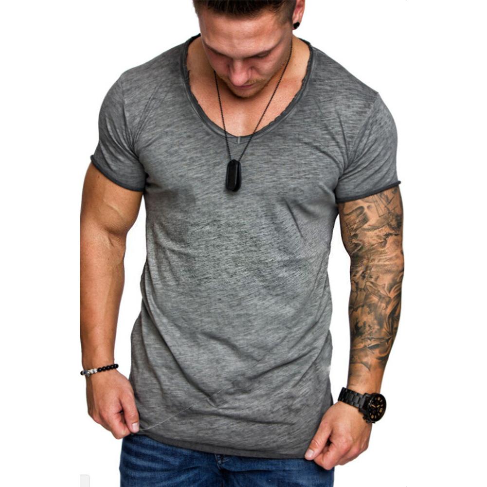 Men Solid Color Round Collar Slim Short Sleeve T Shirt  gray_L