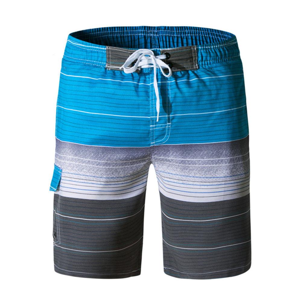Men Fashion Beach Shorts Casual Home Wear Drawstring Shorts 06 light blue_M