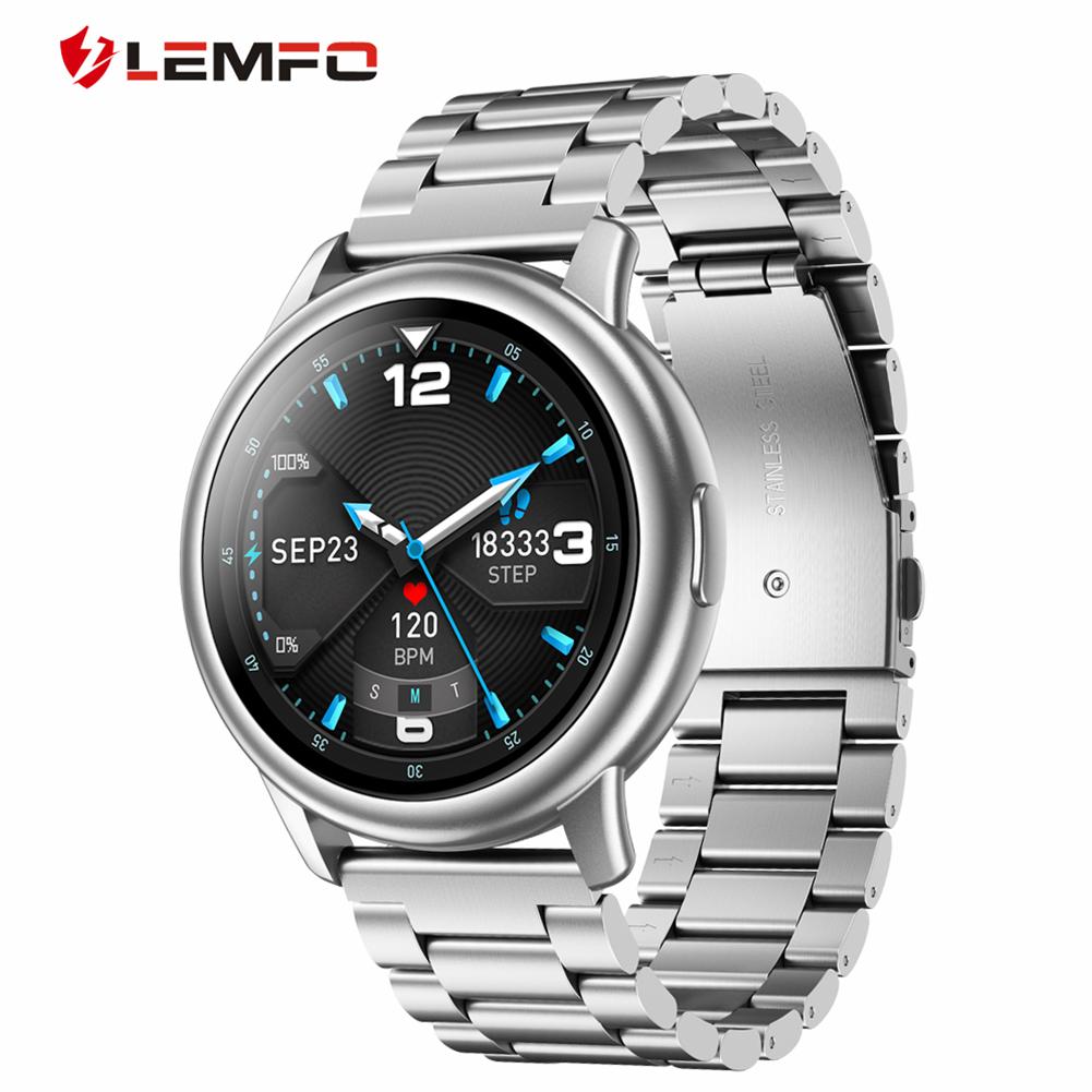Original LEMFO Lf28 Smartwatch Ip68 Waterproof Heart Rate Monitor Sport Smart Watch 30 Days Standby Silver dial silver steel belt