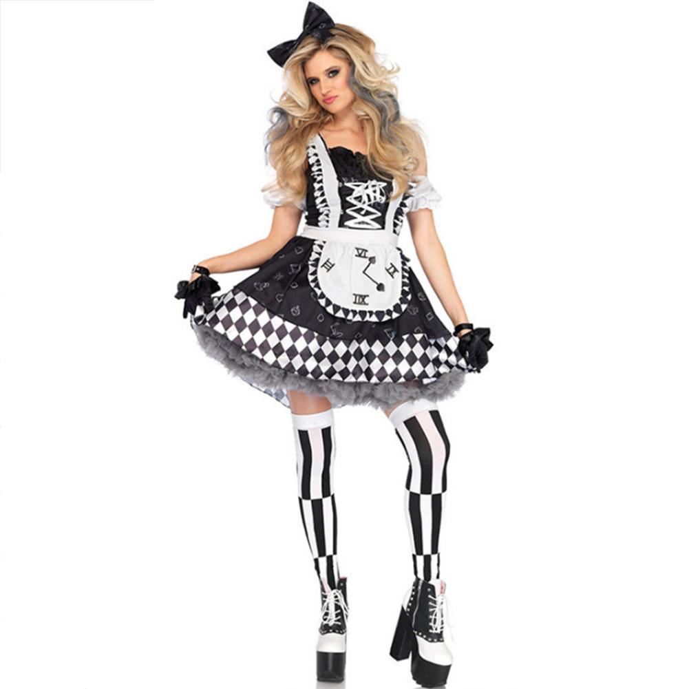 Women Cosplay Oktoberfest Dirndl Dress Clown Bubble Frocks Costume Dress 9048_L