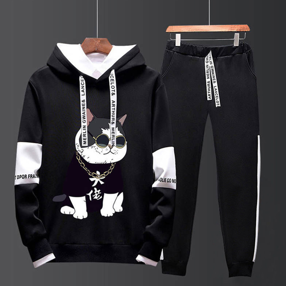 Two-piece Sweater Suits Long Sleeves Hoodie+Drawstring Pants Sports Wear for Man 3#_M