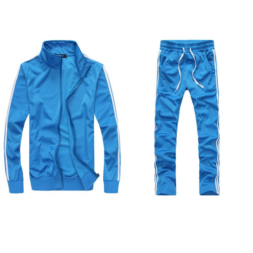 Men Autumn Sports Suit Striped Casual Sweater + Pants Two-piece Suit Outfit sky blue_XXL