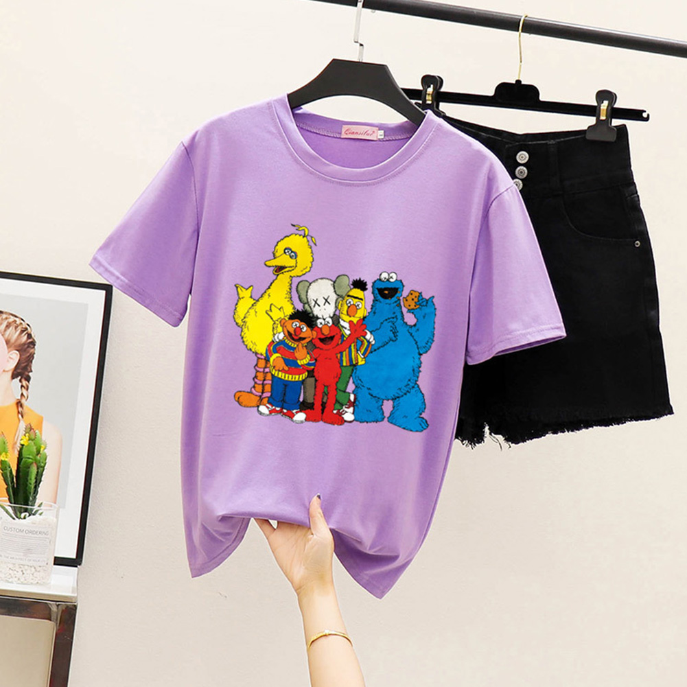 Boy Girl KAWS T-shirt Cartoon Animals Crew Neck Loose Couple Student Pullover Tops Violet_S