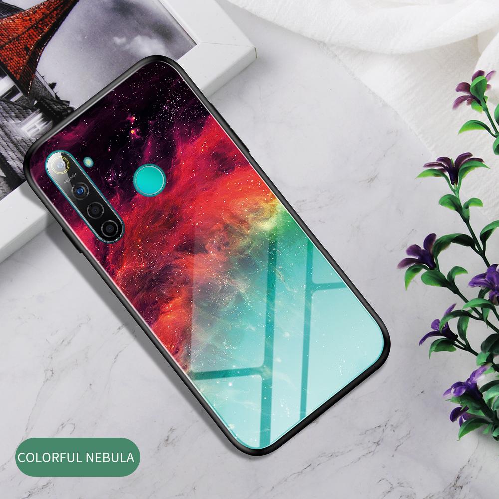 For OPPO Realme 3 Pro/Realme 5/Realme 5 Pro Mobile Shell Soft TPU Phone Case Glass Back Panel Gradient Design Overall Protective Shell Colorful nebula