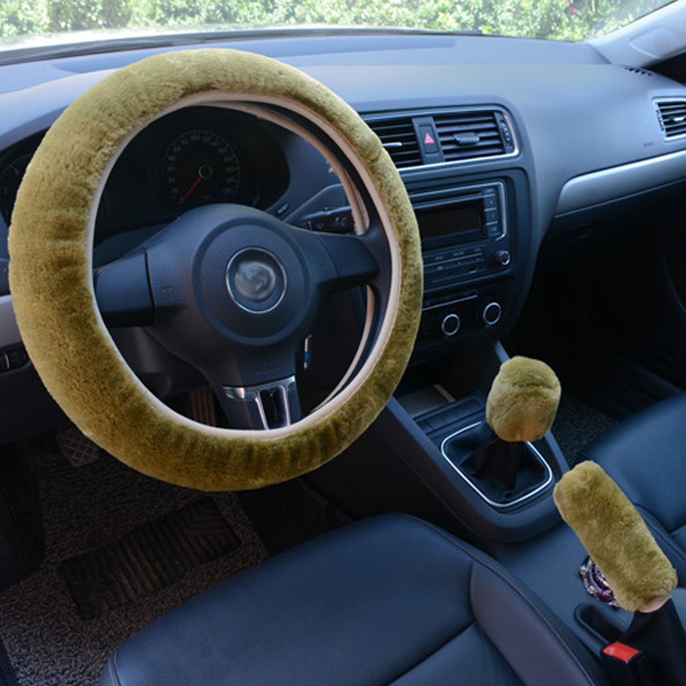 3pcs/set Car Plush Fashion Universal Steering  Wheel  Cover Plush Pull Handle green
