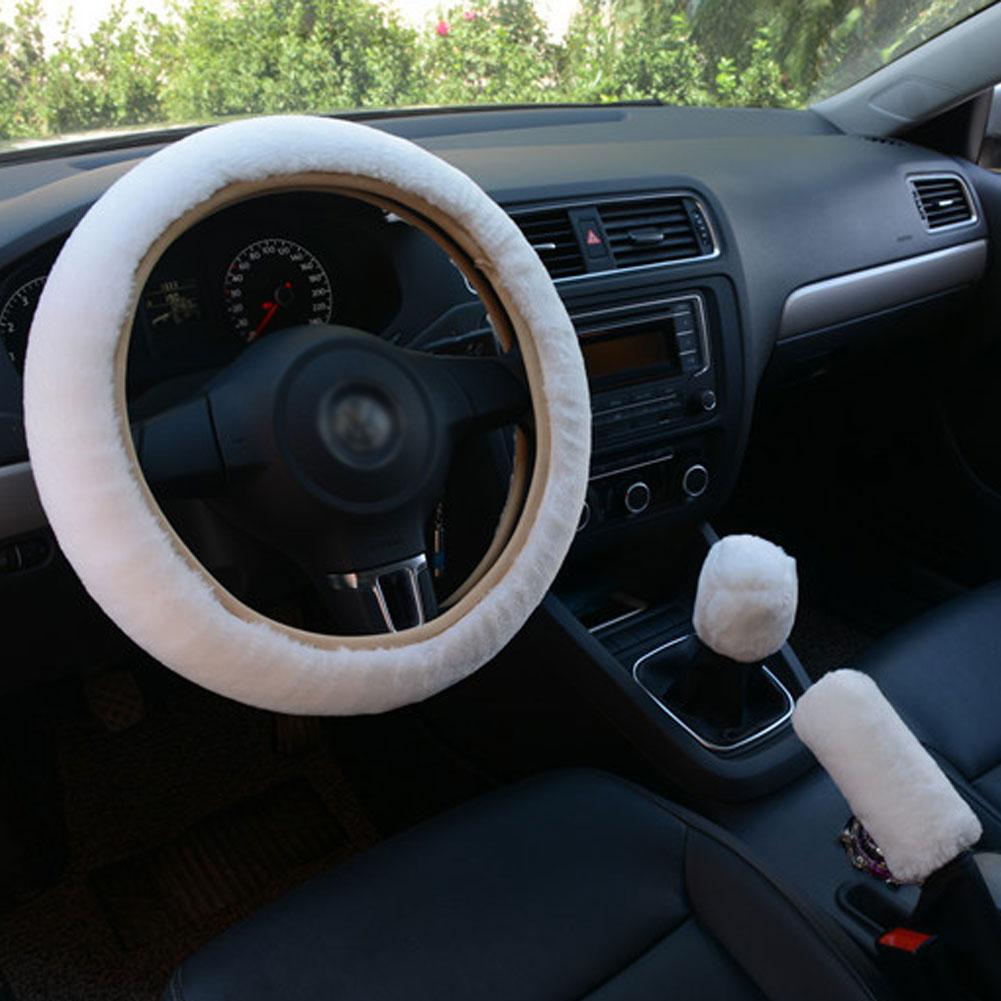 3pcs/set Car Plush Fashion Universal Steering  Wheel  Cover Plush Pull Handle white