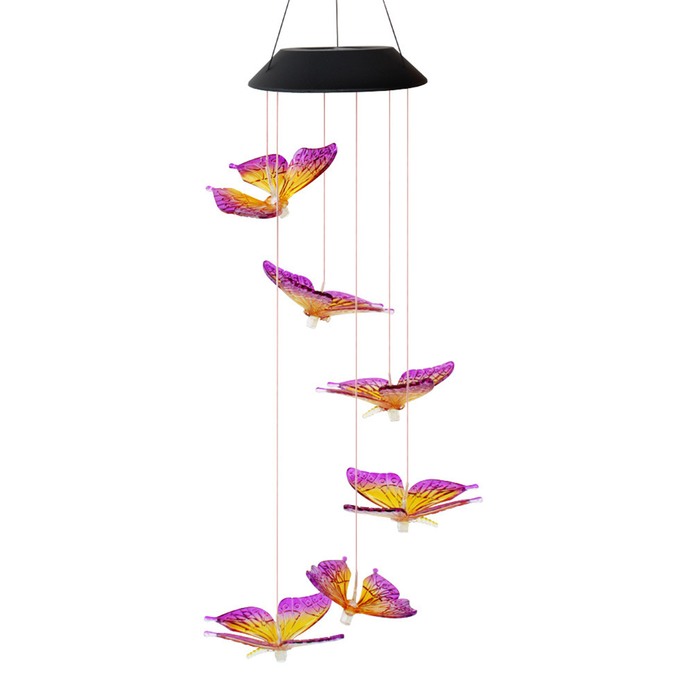 Solar Energy Change Color Led Big Butterfly Wind Chime Home Garden Decoration  Light Purple yellow