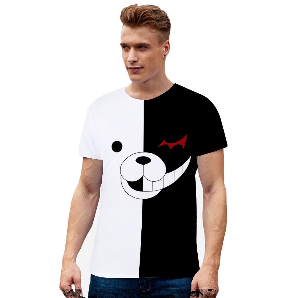 Men Women Fashion 3D Black White Bear Pattern Digital Printing Short Sleeve T Shirt N-0490-YH01_XXL