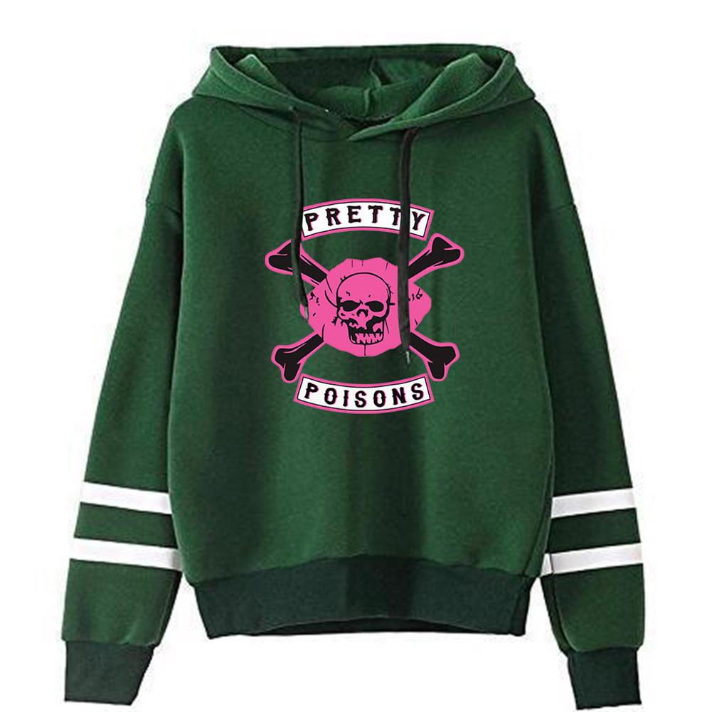 Men Women American Drama Riverdale Fleece Lined Thickening Hooded Sweater Tops Green D_XXL