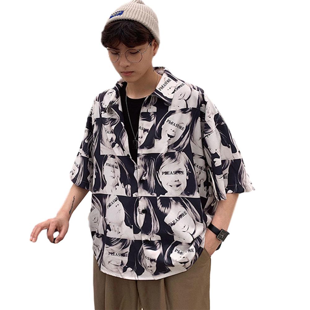 Men's and Women's Shirt Floral Short-sleeve Retro Style Printing Hawaiian Beach Shirt C64#Girl_L