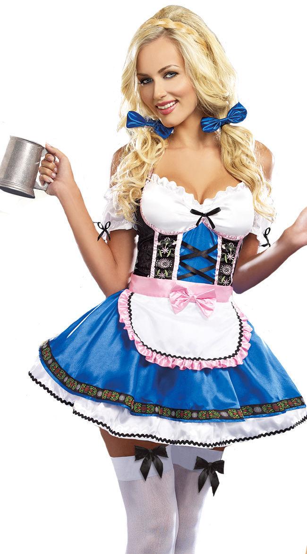 Women Fashion Oktoberfest Festival Dress Costumes Hallowmas Bavaria Clothes blue_L
