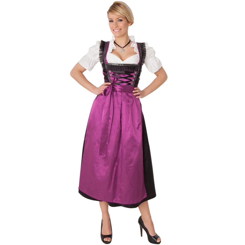Women Oktoberfest Carnival Party Dirndl Dresses Fashion Bavaria Uniforms for Hallowmas purple_M