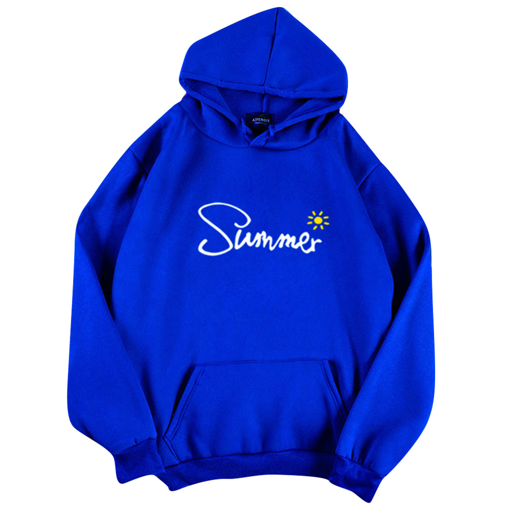 Men Women Hoodie Sweatshirt Thicken Velvet Summer Sun Autumn Winter Loose Pullover Tops Blue_XL