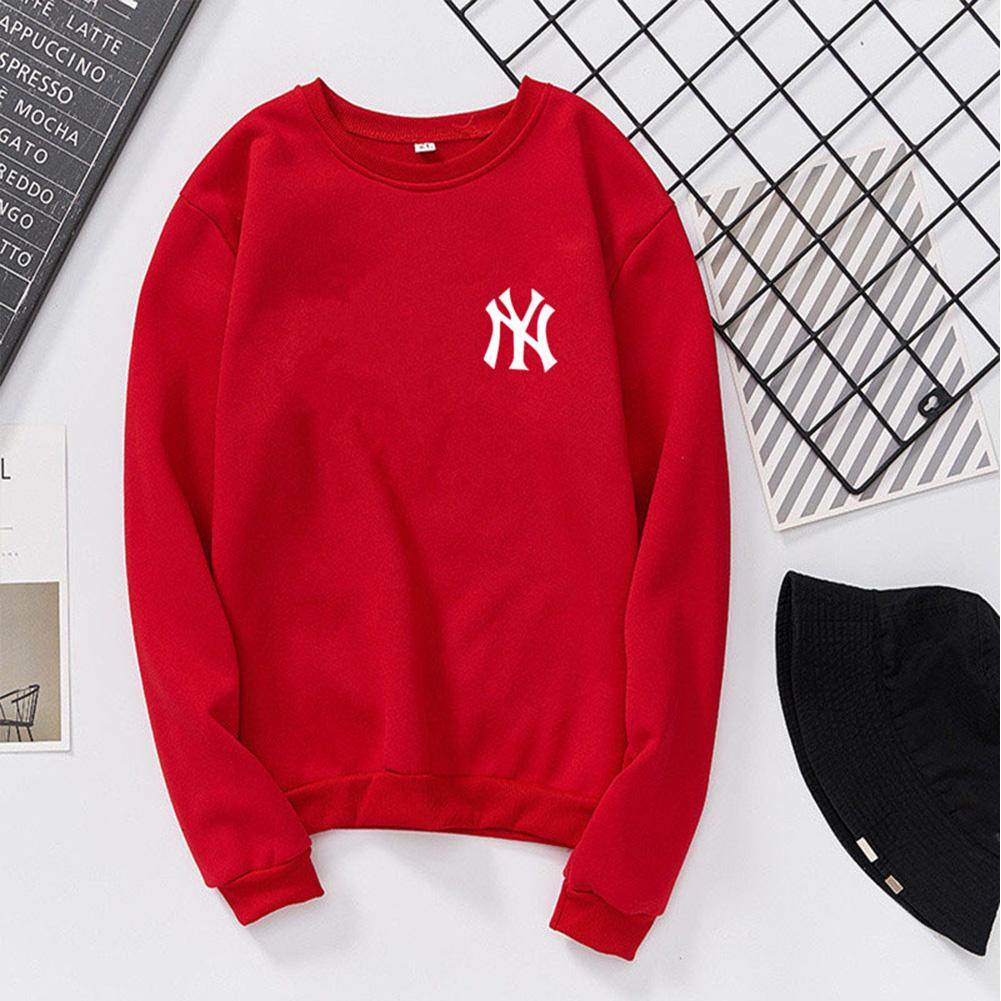 Men Women Lovers Fashion Round Collar Fleece Loose Hooded Sweatshirts Coat red_XL