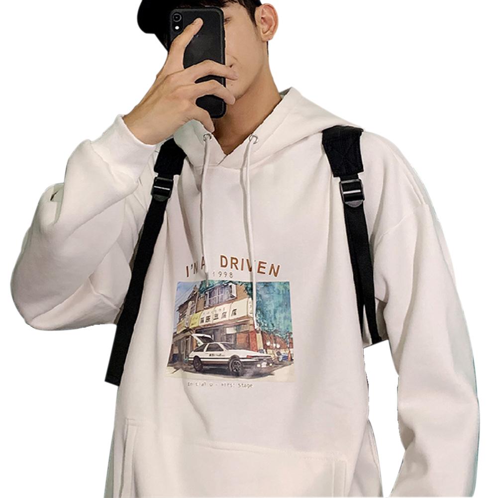 Men Women Hoodie Sweatshirt Printing Letter Car Spring Autumn Loose Pullover Tops White_M