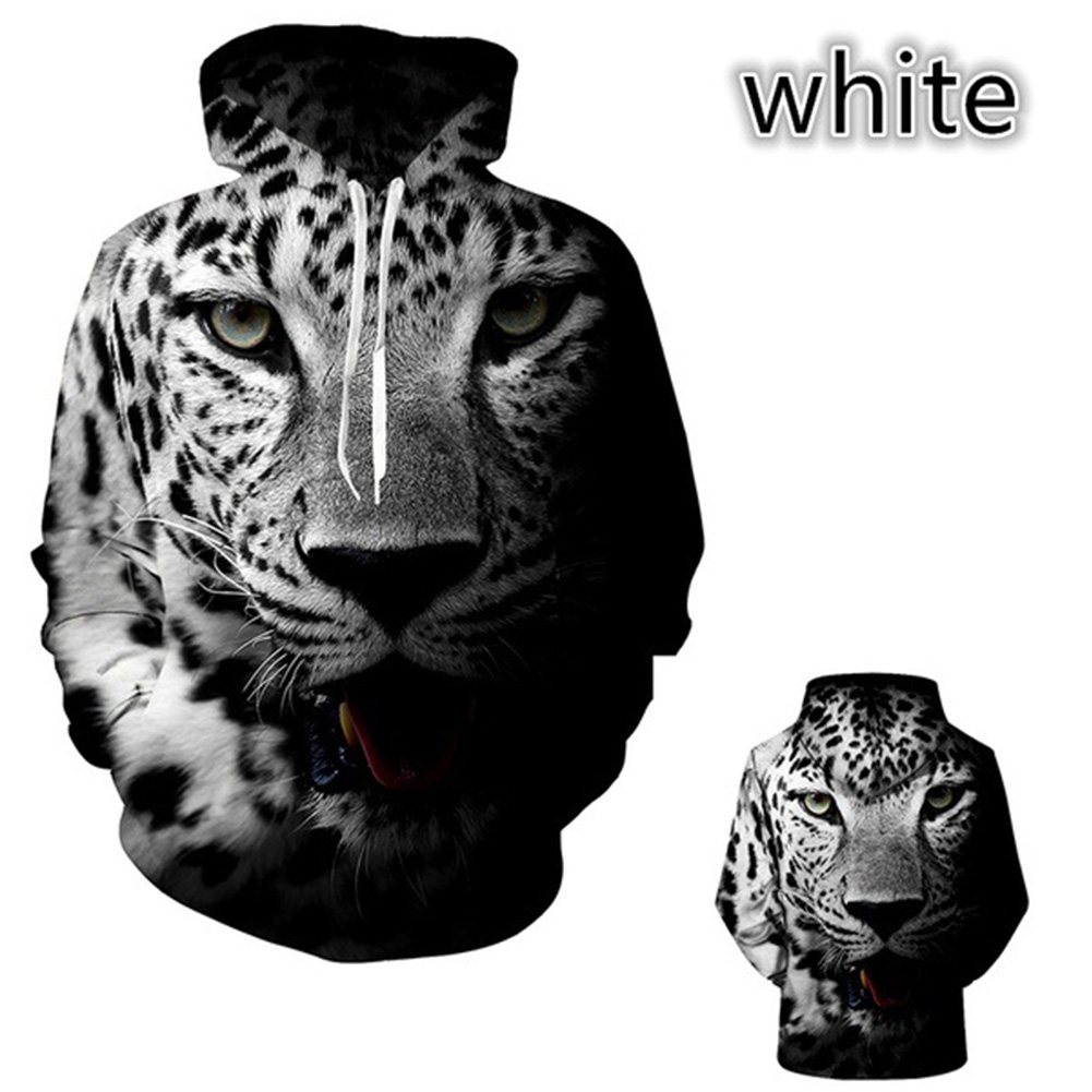 Lovers 3D Black White Leopard Printing Autumn Winter Hooded Sweatshirts for Men Women Black and white leopard_M