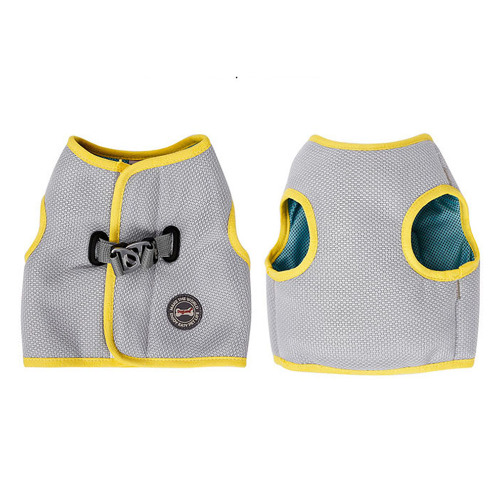 Pet Cooling Harness Summer Vest for Dog Puppy Outdoor Walking Gray yellow_2XL