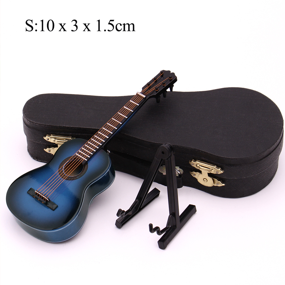 Mini Guitar Miniature Model Classical Guitar Miniature Wooden Mini Musical Instrument Model Collection S: 10cm_Classical guitar blue