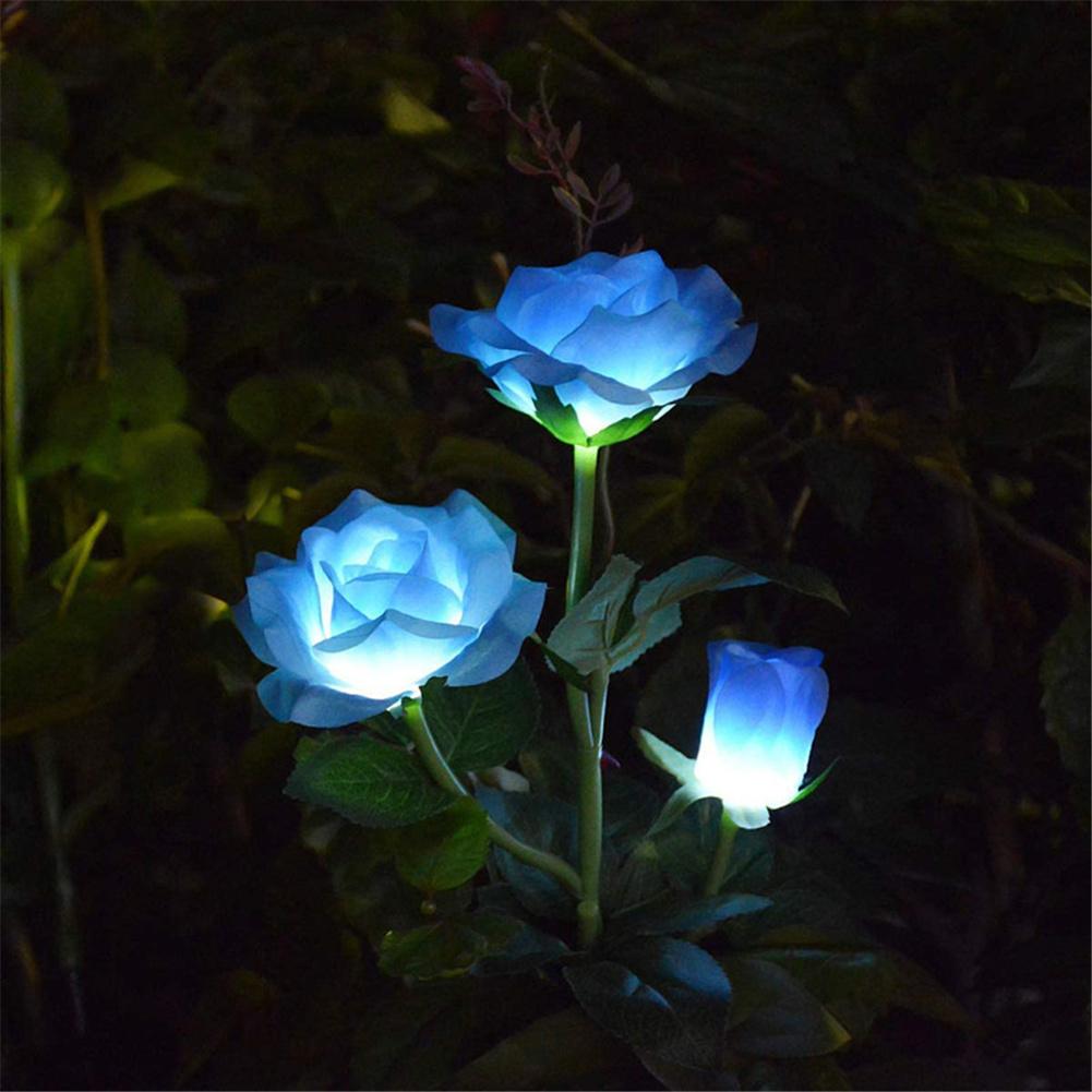Solar  Rose  Light Led Ground Plug Garden Lawn Light Outdoor Park Simulation Flower Light Blue