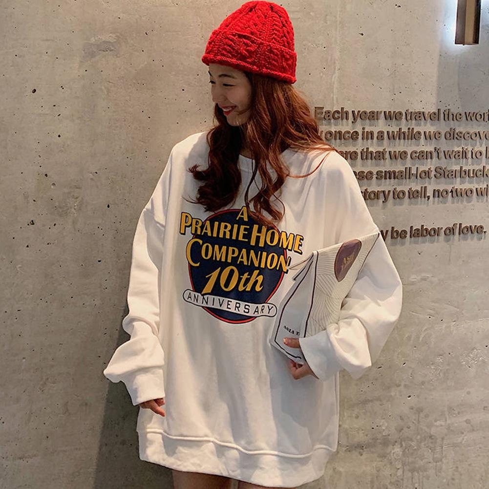 Men Women Sweatshirt Harajuku Style Printing Letter Crew Neck Loose Couple Pullover Tops White_M