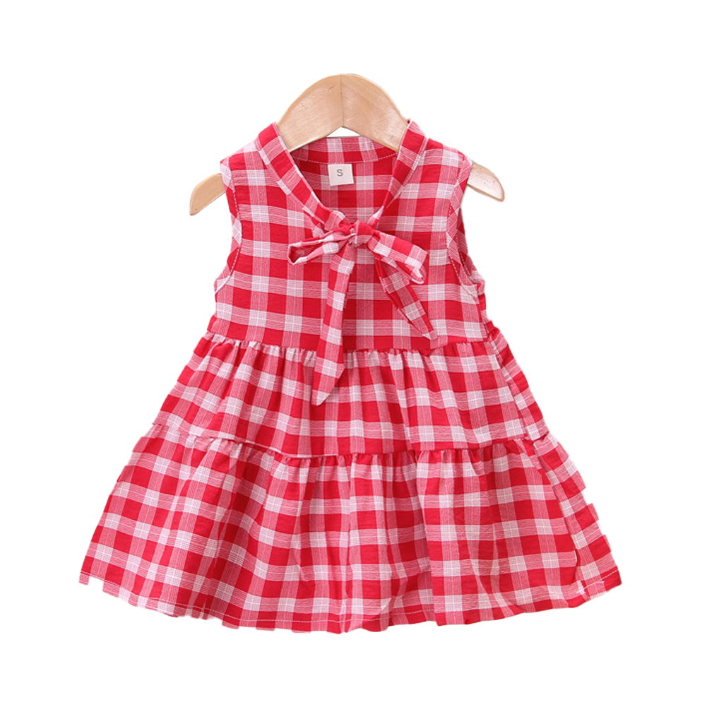 Girls Dress Cotton Sleeveless Plaid Skirt for 0-3 Years Old Kids red_L