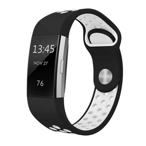 Soft Silicone Replacement Spare Sport Band Bracelet Strap for Fitbit Charge 2  Black and White
