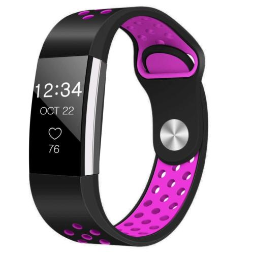 Soft Silicone Replacement Spare Sport Band Bracelet Strap for Fitbit Charge 2  Black purple