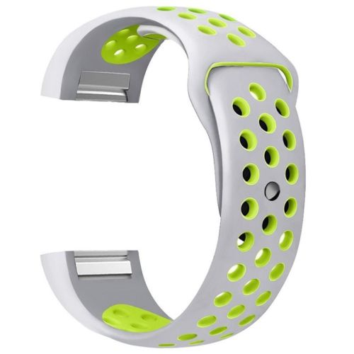 Soft Silicone Replacement Spare Sport Band Bracelet Strap for Fitbit Charge 2  Silver yellow