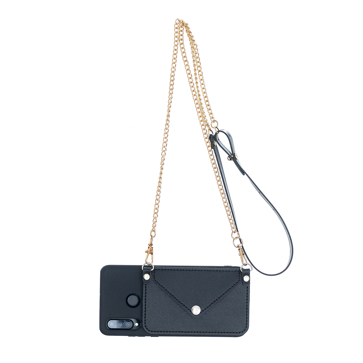 For HUAWEI P30/P30 Lite/P30 Pro Mobile Phone Cover with Pu Leather Card Holder + Hand Rope + Straddle Rope black