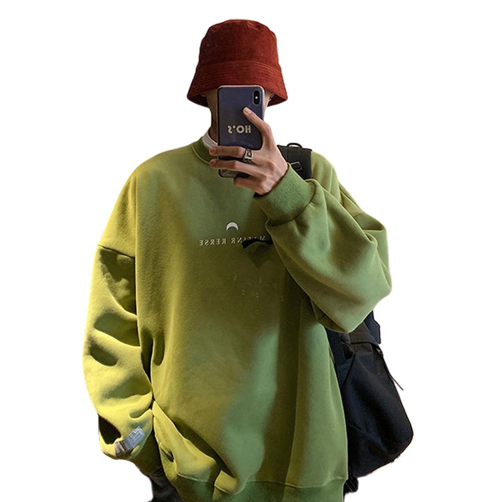 Men Women Crew Neck Sweatshirt Moon Letter Printing Solid Color Loose Fashion Pullover Tops Green_XXXL