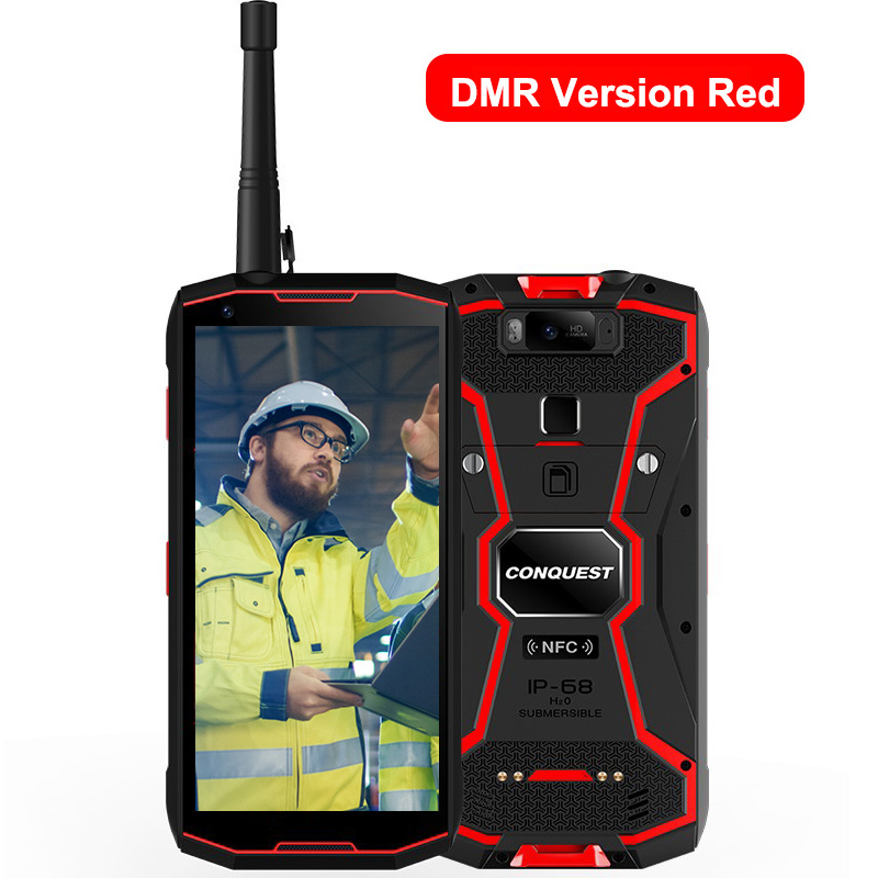 Original CONQUEST S12 Pro Phone Safety Explosion Proof IP68 4G Mobile Phone 8000mAh Android Rugged Smartphone EU Plug red_6+128GB with intercom