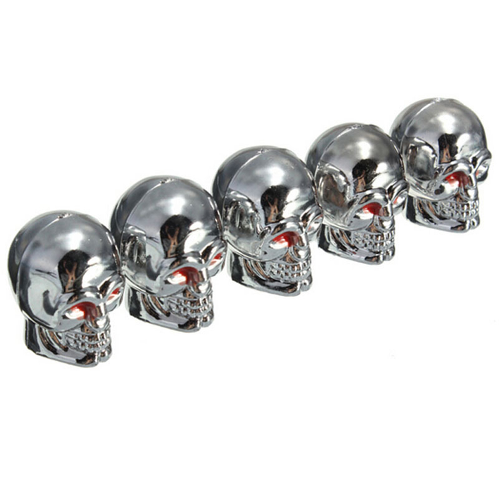 5Pcs Tire Air Valves Cap Red Eyes Skull Tyre Stem Dust Caps For Car Truck Motorcycle Silver