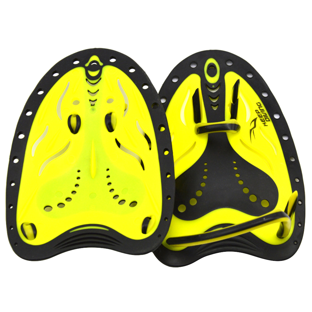 1 Pair Swimming Paddles Adjustable Hand Fin Training Diving Paddle Gloves Paddles WaterSport Equipment  yellow_L (man with large adult hands)