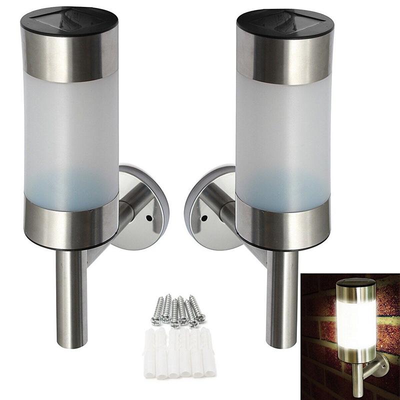 2 Pcs Waterproof Solar-Powered Stainless Steel LED Wall Lamp Yard Street Fence Light Decoration White light