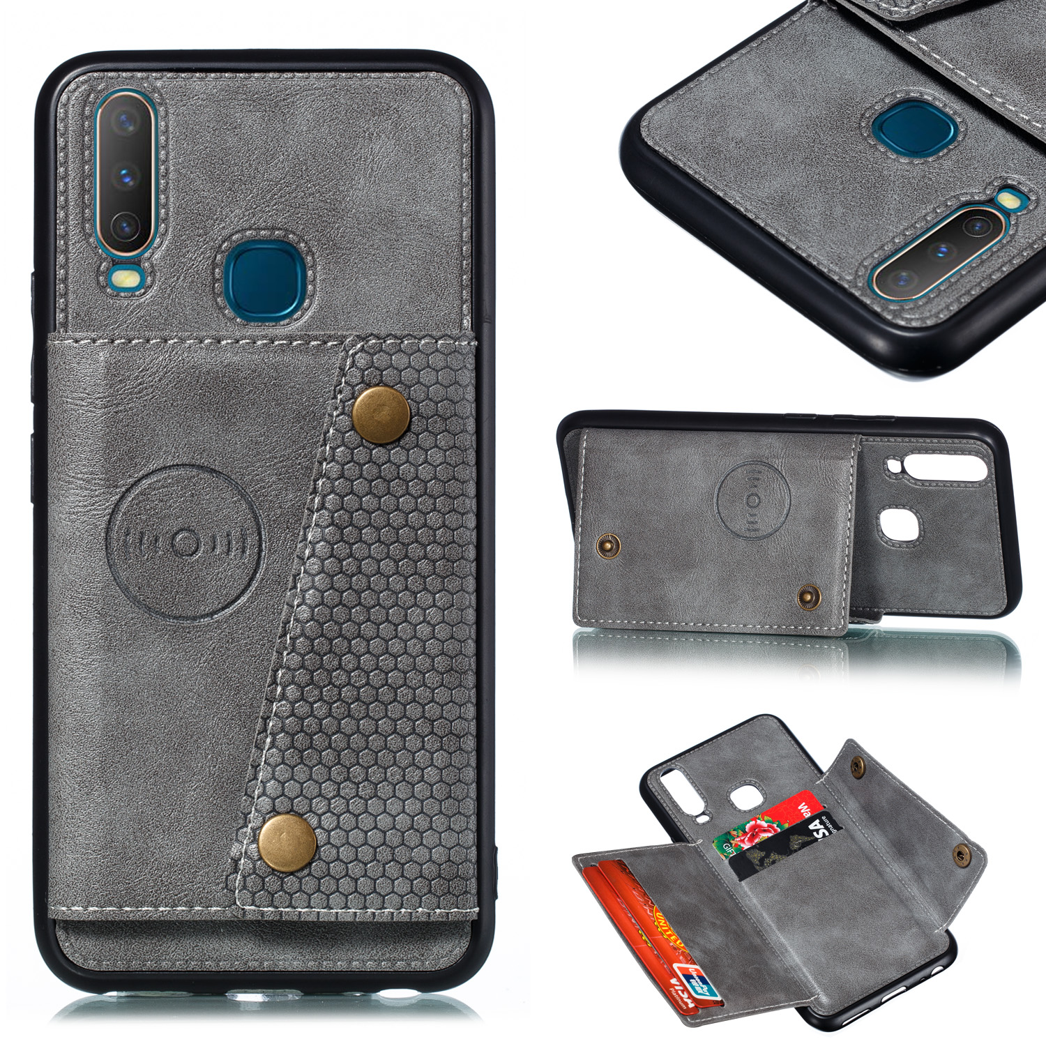For VIVO Y17 Shockproof Double Buckle Wallet Case Cell Phone Case PU Leather Flip Stand Phone Cover With Card Slots gray