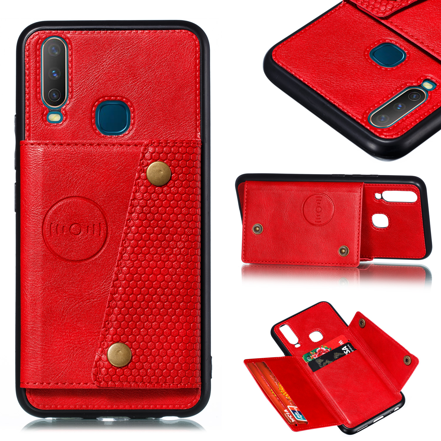 For VIVO Y17 Shockproof Double Buckle Wallet Case Cell Phone Case PU Leather Flip Stand Phone Cover With Card Slots red