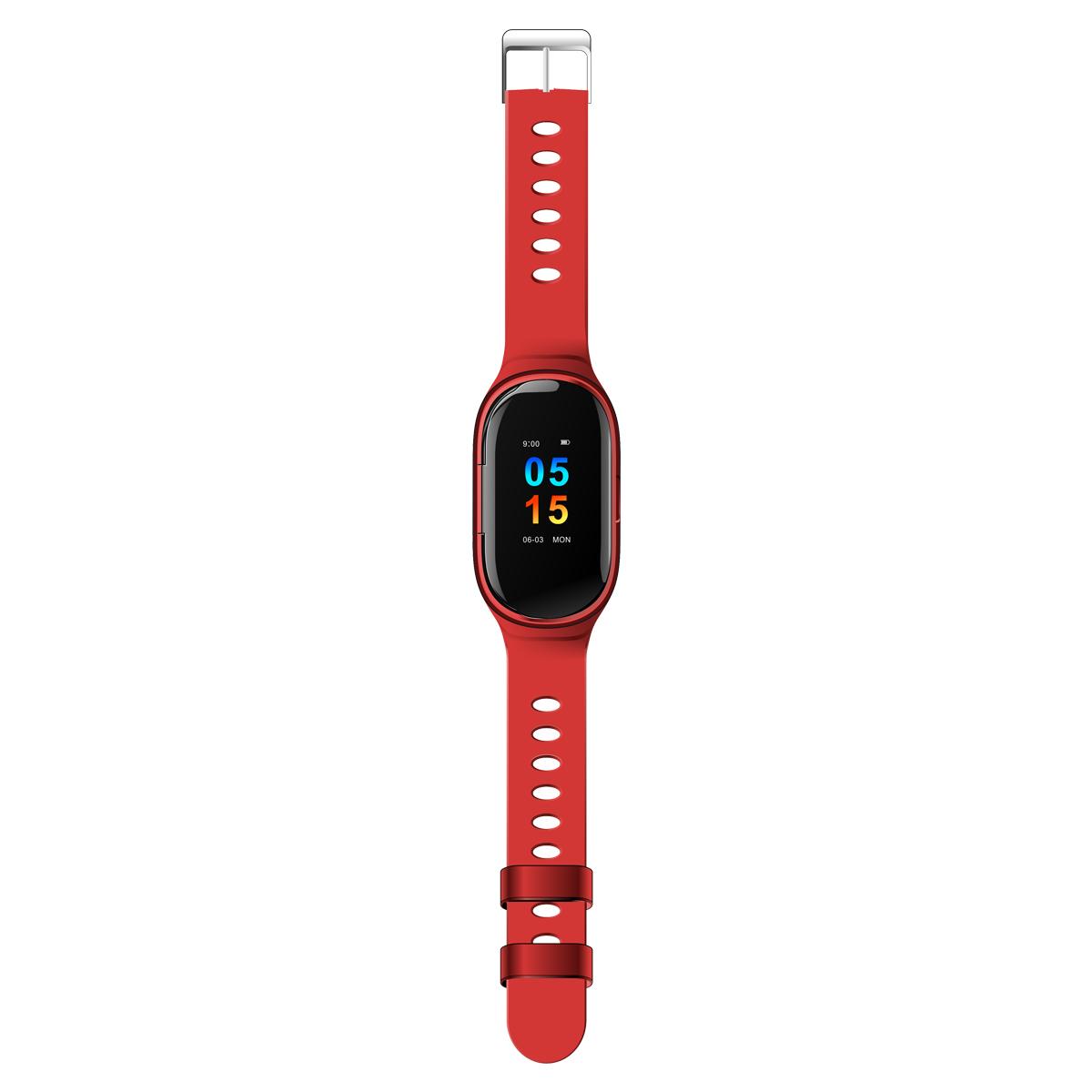 Original LEMFO M1 Wireless Bluetooth Earphone Sport Watch Wristband red