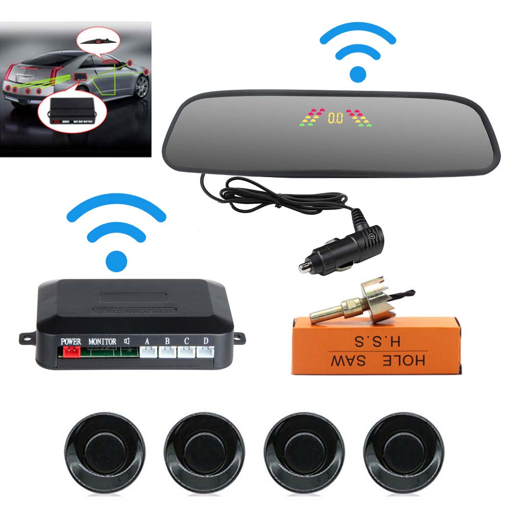 Car Reversing Parking Camera Wireless Parking Sensor Car Rear View Parking Sennor Kit Detector Led Display Automatic Auxiliary Car Parking Black probe