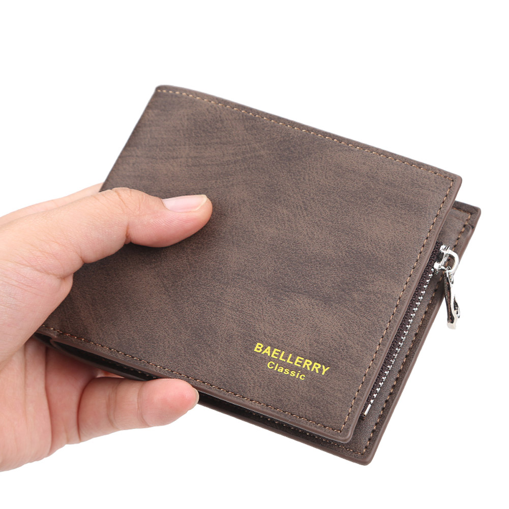 Men Short Wallet with Card Slots 2 Floding Leather Fashion Casual Wallet  brown
