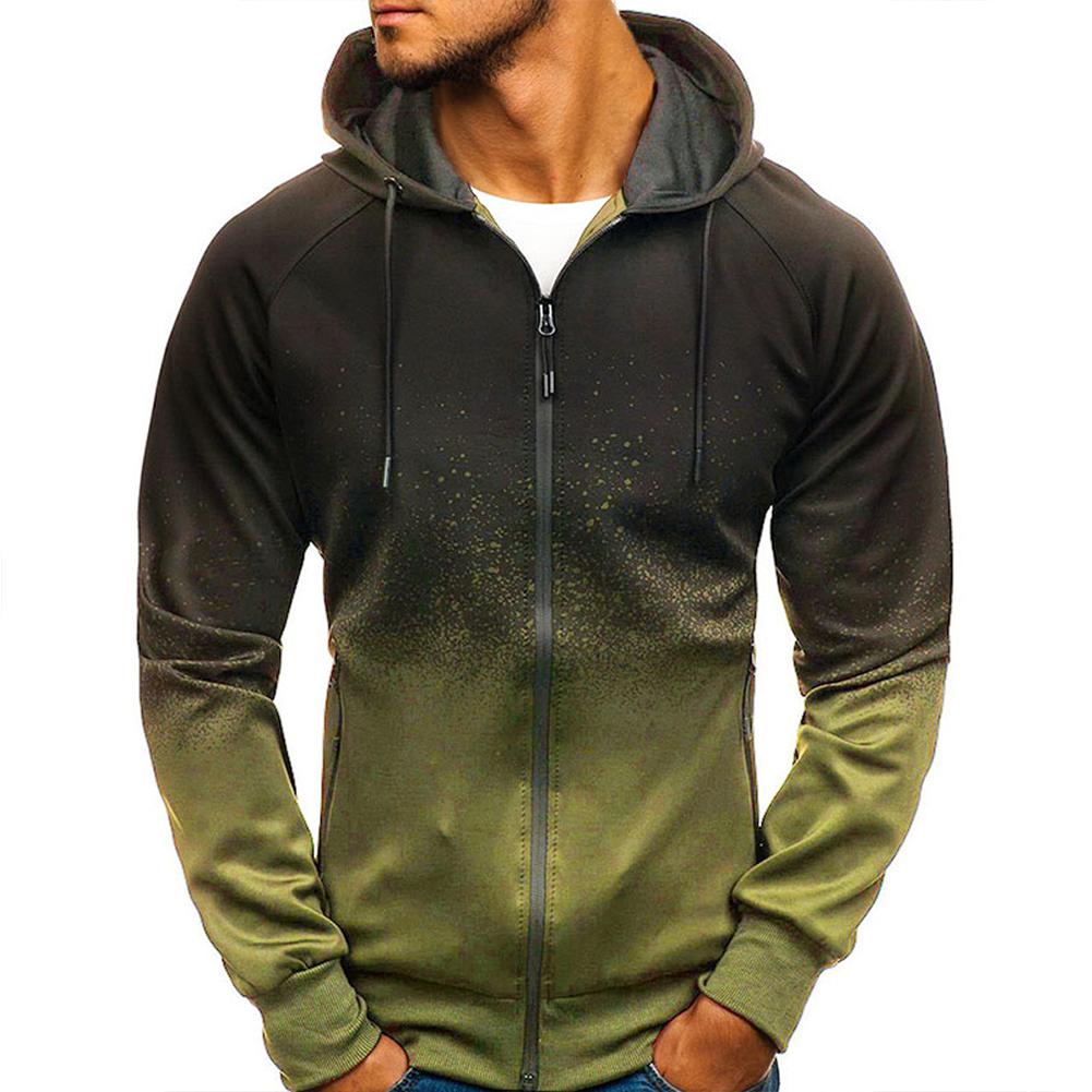 Men 3D Gradient Digital Printing Zipper Hooded Sweatshirt ArmyGreen_M